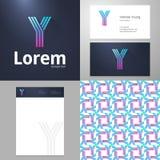 Progetti l'elemento dell'icona Y con il modello di carta e del biglietto da visita Fotografie Stock Libere da Diritti