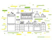 Progetti l'illustrazione dello spazio moderno dell'interno della cucina del progettista Fotografia Stock