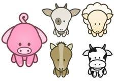 Progetti l'insieme degli animali da allevamento del fumetto. Fotografia Stock