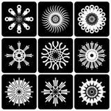 Progetti l'insieme di elementi Contrapponga le icone astratte in bianco e nero illustrazione di stock