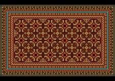 Progetti l'ornamento per un vecchio tappeto nelle tonalità rosse e marrone rossiccio Fotografie Stock