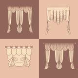 Progetti la decorazione interna isolata raccolta realistica delle tende e dei drappi dell'illustrazione di vettore delle icone di Fotografia Stock