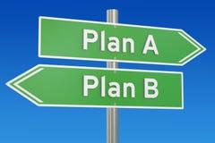 Progetti A o le opzioni alternative sul cartello della strada, 3D di piano B con riferimento a Fotografia Stock