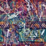 Progetti per la tasca quadrata, lo scialle, tessuto Modello floreale astratto di Paisley royalty illustrazione gratis