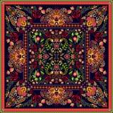 Progetti per la tasca quadrata, lo scialle, tessuto Modello floreale di Paisley Fondo di vettore royalty illustrazione gratis