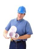 Progettista della costruzione con i programmi della costruzione Fotografia Stock