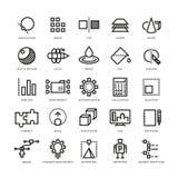Progettista di cad, innovazione futura, base di dati, architettura, linea di modello icone di vettore di stampa 3d illustrazione vettoriale