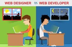 Progettista di web contro sviluppatore web Fotografie Stock