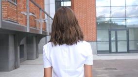 Progettista femminile all'aperto di camminata, vista posteriore, sottotetto Fotografie Stock