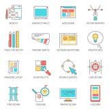 Progettista Icons Line Set Fotografia Stock Libera da Diritti