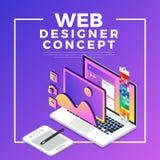 Progettista piano isometrico di web di concetto di progetto Illustrazione di vettore illustrazione di stock