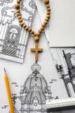 Progetto architettonico della chiesa cristiana Immagine Stock