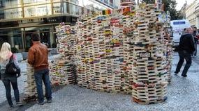Progetto caritatevole il mattone utile a Praga per alzare i fondi per sostenere le persone con esigenze particolari fotografia stock