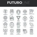 Progetto che progetta la linea icone di Futuro messe Immagine Stock