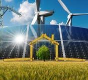 Progetto della Camera ecologica con energia rinnovabile Fotografie Stock