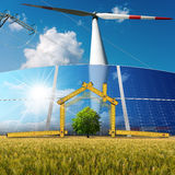 Progetto della Camera ecologica con energia rinnovabile Immagini Stock Libere da Diritti