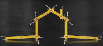 Progetto della Camera - metro di legno giallo illustrazione di stock