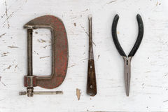 Progetto di concetto di hobby di parola di DIY composto dagli strumenti d'annata Immagine Stock