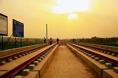 Progetto di costruzione della stazione ferroviaria di Luoyang LongMen nella ferrovia di alta velocità di Zhengxi Fotografia Stock