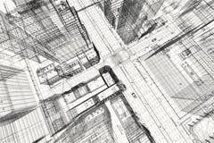 Progetto di costruzioni della città, stampa del wireframe 3d, piano urbano Architettura Fotografia Stock