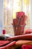 Progetto di cucito rosso fotografie stock libere da diritti