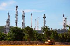 Progetto di espansione della pianta di raffineria del gas e del petrolio nell'ambito di espansione Fotografia Stock Libera da Diritti