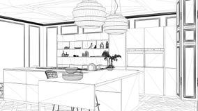 Progetto di interior design, schizzo in bianco e nero dell'inchiostro, modello di architettura che mostra cucina contemporanea co illustrazione vettoriale