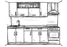 Progetto di massima della cucina Illustrazione fatta a mano Fotografia Stock Libera da Diritti