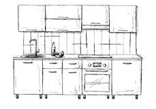 Progetto di massima della cucina Illustrazione fatta a mano Fotografia Stock
