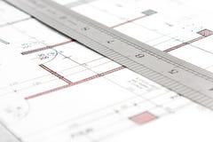 Progetto e tiraggio tecnico del righello Fotografia Stock Libera da Diritti