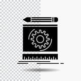 Progetto, ingegneria, processo, prototipo, icona di glifo di modello su fondo trasparente Icona nera illustrazione vettoriale