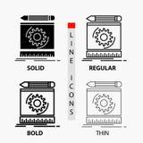 Progetto, ingegneria, processo, prototipo, icona di modello nella linea e nello stile sottili, regolari, audaci di glifo Illustra illustrazione di stock