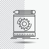 Progetto, ingegneria, processo, prototipo, linea icona di modello su fondo trasparente Illustrazione nera di vettore dell'icona royalty illustrazione gratis