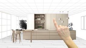 Progetto non finito, progetto in costruzione, schizzo di interior design, mano che indica cucina bianca moderna reale con immagini stock libere da diritti