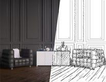Progetto non finito dell'interno coworking stile country dell'ufficio illustratore della rappresentazione 3D Fotografia Stock