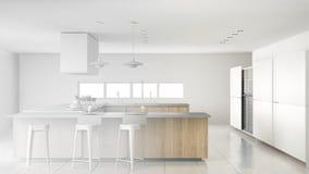 Progetto non finito della cucina di legno moderna professionale minimalistic con gli accessori, interno contemporaneo illustrazione di stock