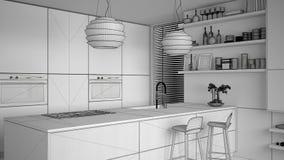 Progetto non finito di progetto della cucina moderna con gli scaffali e dei gabinetti, isola con i panchetti Salone contemporaneo illustrazione di stock