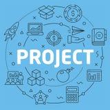 Progetto piano dell'illustrazione del cerchio di Blue Line Immagini Stock Libere da Diritti