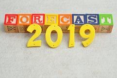 Prognose 2019 Stockfotografie