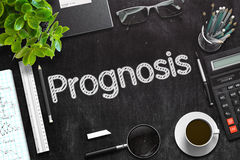 Prognosis on Black Chalkboard. 3D Rendering. Black Chalkboard with Prognosis Concept. 3d Rendering. Toned Image Stock Photography