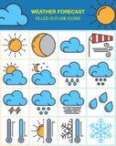 Prognoz pogody kreskowe ikony ustawiają, wypełniająca konturu symbolu kolekcja, liniowa kolorowa piktogram paczka na bielu Obrazy Royalty Free