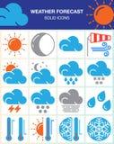 Prognoz pogody wektorowe ikony ustawiać, nowożytna stała symbol kolekcja, kolorowa piktogram paczka odizolowywająca na bielu Zdjęcie Stock