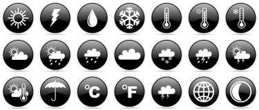 Prognoza pogody klimatu meteorologii ikony glansowany set Zdjęcia Stock