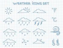 Prognoza pogody piktogramy ustawiający Fotografia Royalty Free