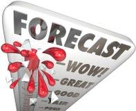 Prognozy słowa termometru przyszłości finanse budżeta przychody Wielki E Obraz Stock
