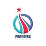 Progrès - logo abstrait de vecteur Éléments de conception avec le signe d'étoile Symbole de développement Icône de succès Concept illustration stock