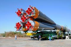 Progrès Rocket à Baikonur Cosmodrome Photos libres de droits