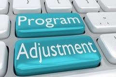 Program Adjustment concept. 3D illustration of computer keyboard with the script Program Adjustment on two adjacent pale blue buttons Stock Image