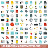 100 program adjustment icons set, flat style Stock Photos