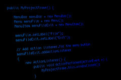 Program code on black screen. Part of a java program on black computer screen Royalty Free Stock Images